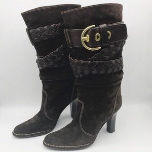 COACH Brown suede Randie belted boots.  Like new.